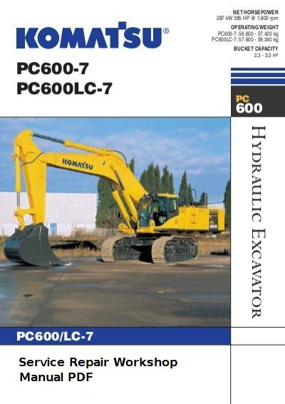 Komatsu Hydraulic Excavator PC600-7 PC600LC-7 Service Manual Download -  Komatsu Service Manual Online Download